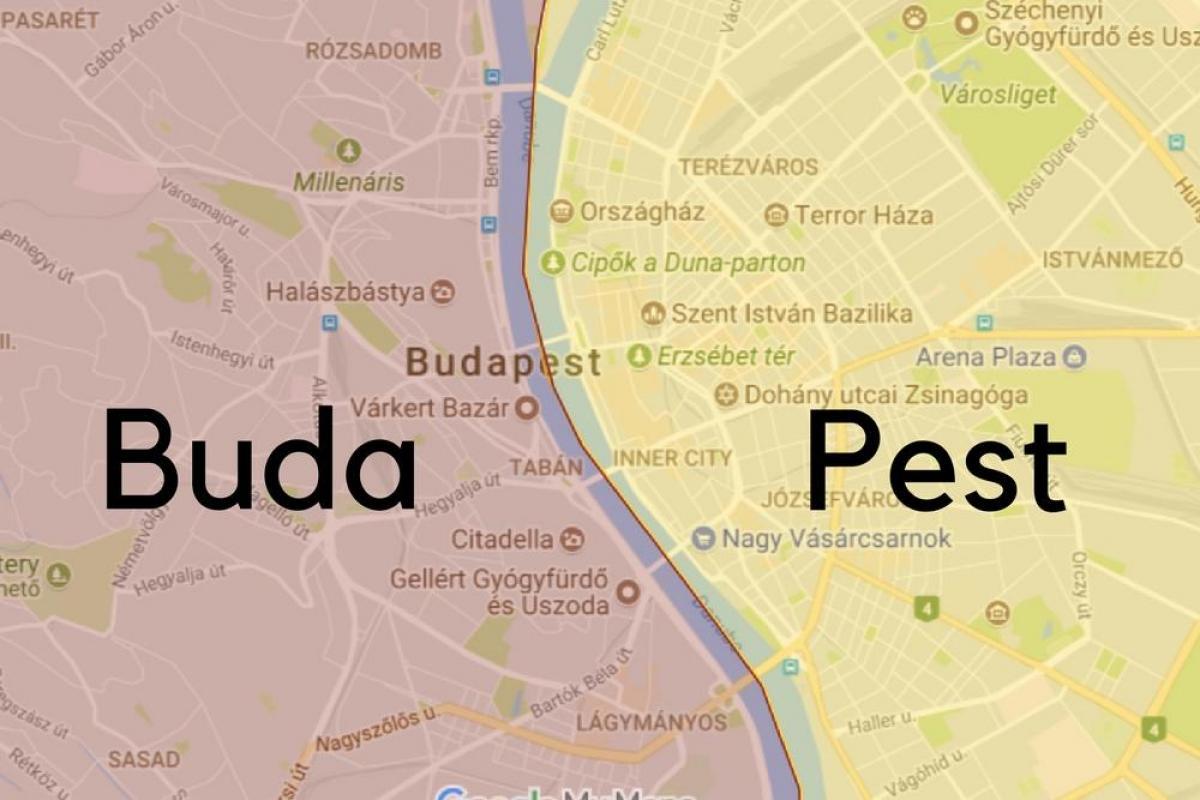 Budapest neighborhood map - Budapest neighborhoods map (Hungary)